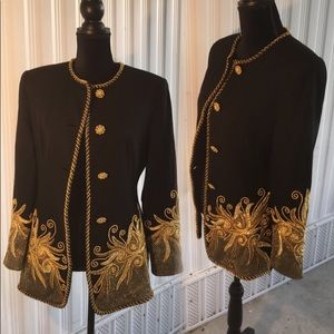 Outrageous blk wool jacket w/ gold embellishments
